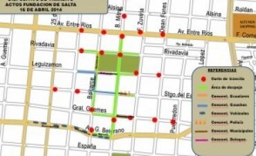 Operativo de tránsito por el desfile conmemorativo de la Fundación de Salta