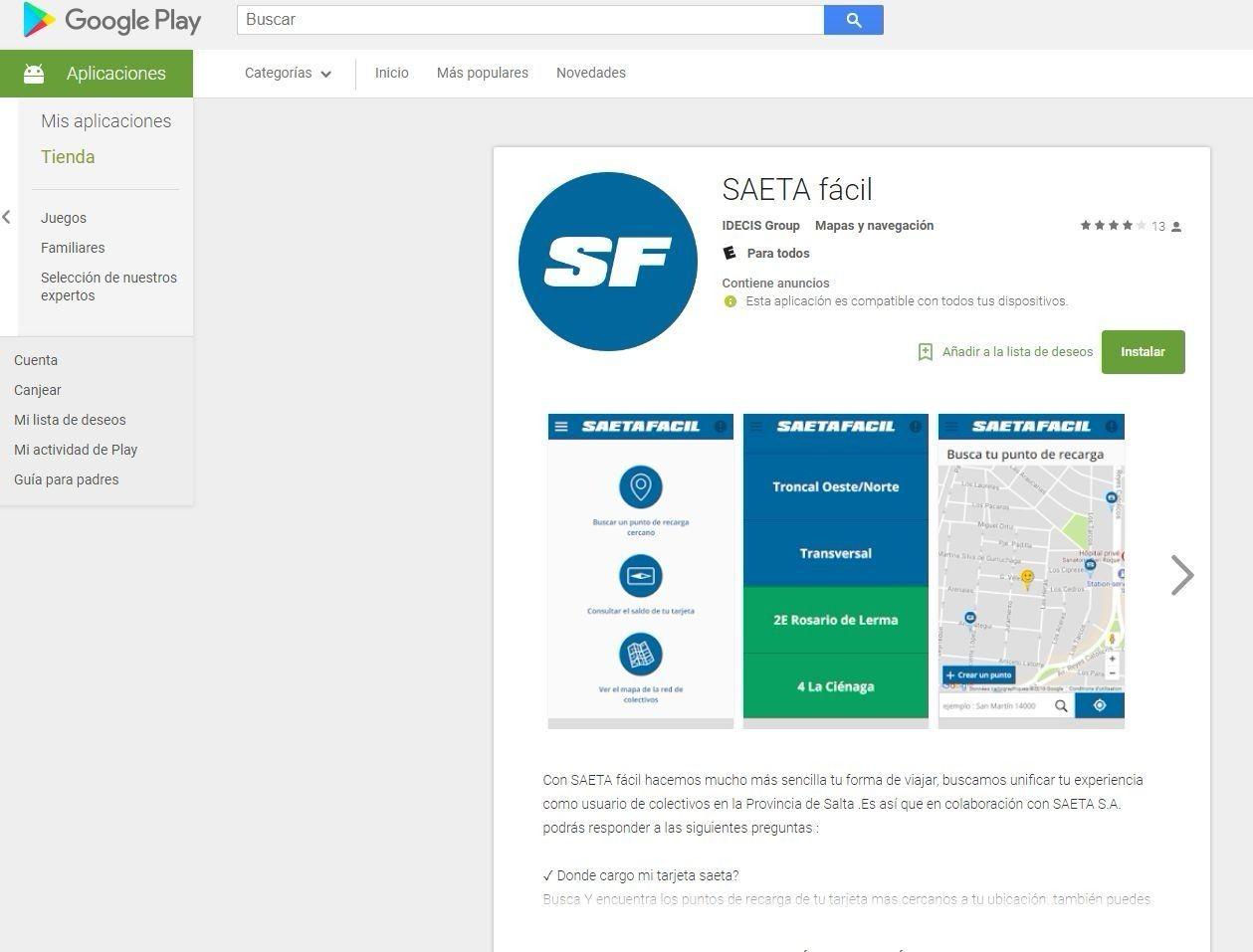 SAETA presento su web del recorrido del transporte público