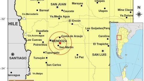 Temblor en Mendoza dos con epicentro en Lavalle y San Martín
