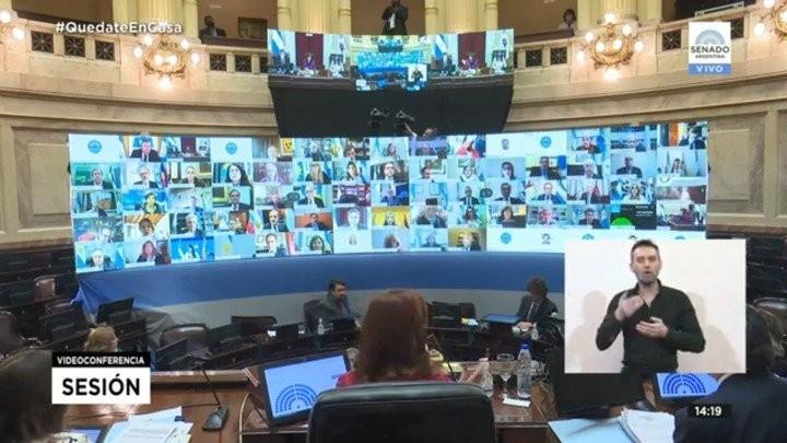 La primera sesión virtual del Senado se retoma luego de caerse el sistema