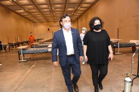 Sáenz y la ministra Vizzotti recorrieron el Centro de Recuperación COVID-19 de Limache