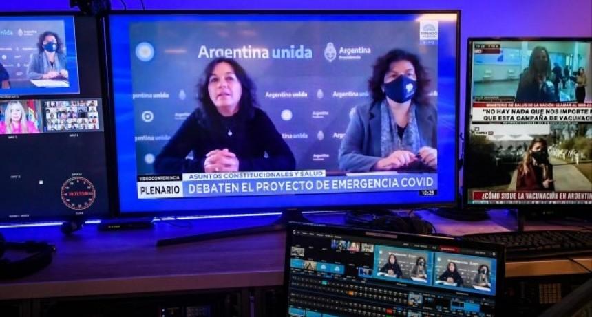 Carla Vizzoti y Vilma Ibarra exponen en el Senado sobre el proyecto para regular las restricciones por la pandemia