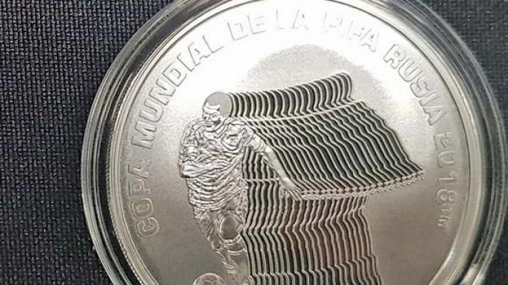 El Banco Central presentó la moneda del Mundial