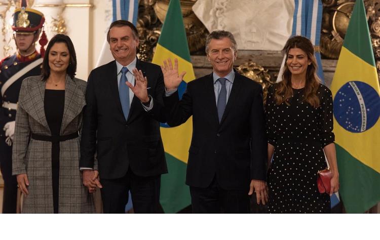 Jair Bolsonaro  es recibido por Mauricio Macri