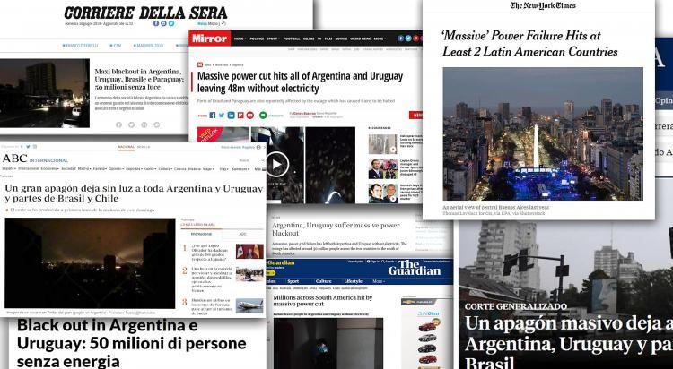 Repercutió en el mundo el apagón Argentino