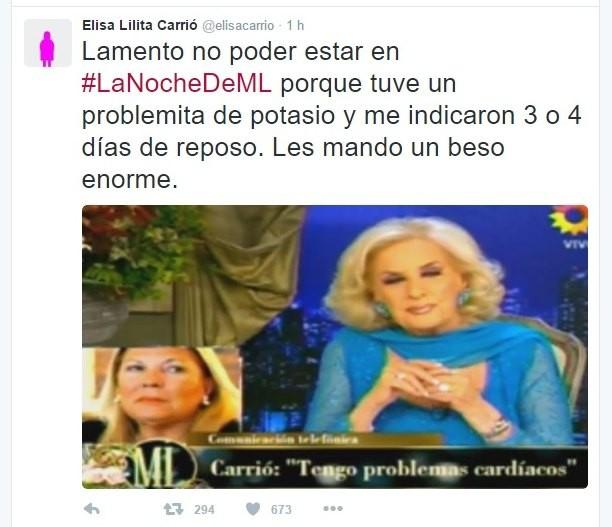 Elisa Carrió no pudo estar en el programa de Mirtha por un inconveniente de salud