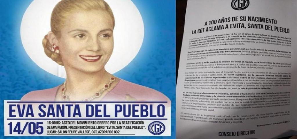 La CGT solicitó al Vaticano la beatificación de Eva Perón