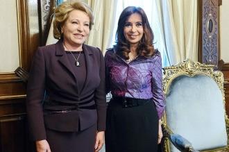 Cristina se reunió con la presidente del Senado ruso en Casa de Gobierno