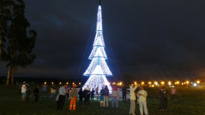 Se encendieron las luces de los árboles de Navidad en el Parque Bicentenario
