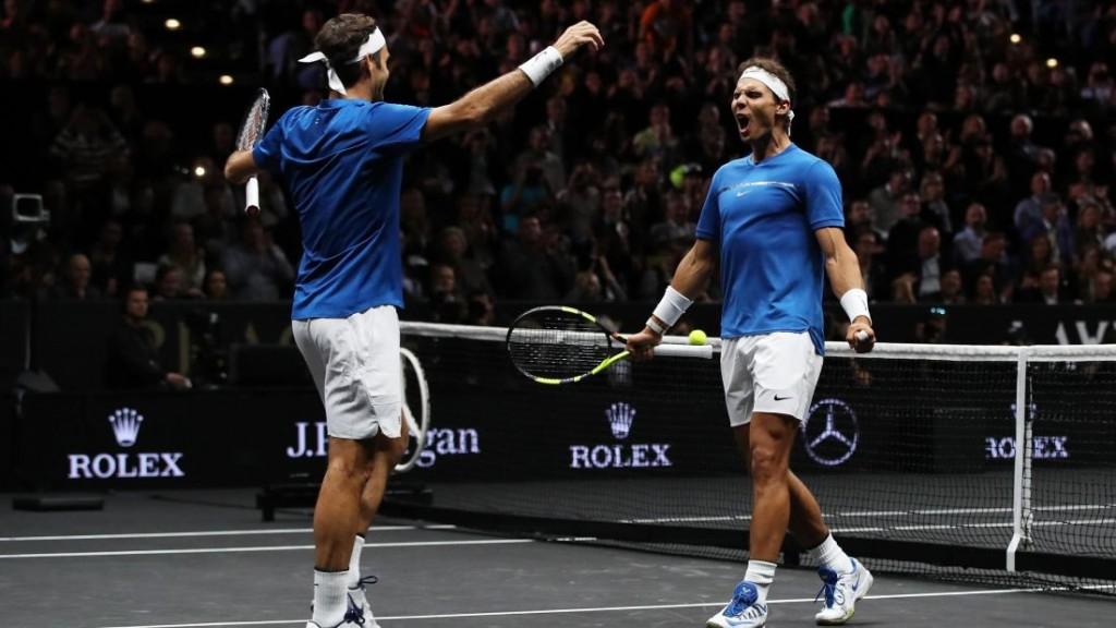 Roger Federer y Rafael Nadal en La Laver Cup